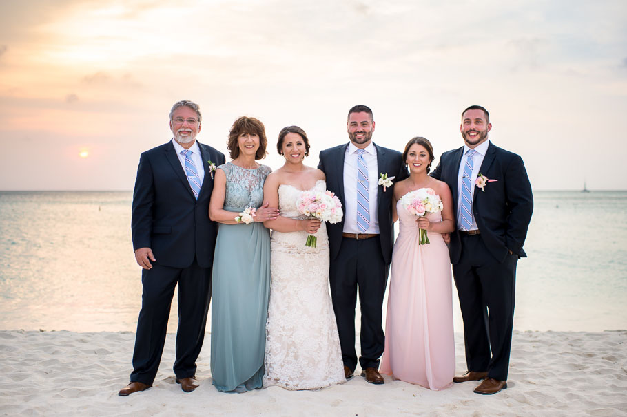 family photo with bride and groom